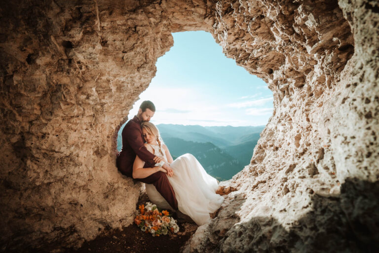 Couple takes a sweet break in a Mountain Cut Out